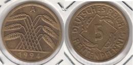 Germania 5 Reichspfennig 1924 A - KM#32 - Used - [ 3] 1918-1933 : Repubblica Di Weimar