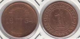 Germania 1 Reichspfennig 1934 A - KM#37 - Used - [ 3] 1918-1933 : Repubblica Di Weimar