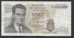 België Belgique Belgium 15 06 1964 -  20 Francs Atomium Baudouin. 3 S 8141298 - [ 6] Treasury