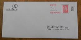 PAP Réponse Institut Curie    - Agrément  212080   Pas De N° à L'intérieur  - Marianne L'Engagée - Yseult YZ CATELIN - Entiers Postaux