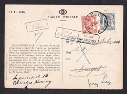 Belgium: Postcard, 1947, 2 Stamps, From Belgian Railways: Your Parcel Was Refused, Returned, Retour (minor Damage) - België