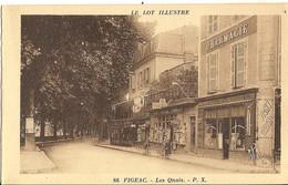 Carte Postale Ancienne Animée Le Lot Illustré - Figeac Les Quais Pharmacie - Edition P. X.  APA Numéro 86 - Figeac