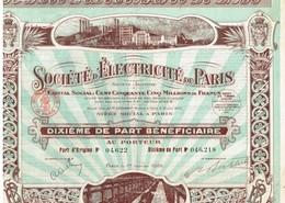 Action Ancienne - Société D' Electricité De Paris  - Titre De 1935 - Electricité & Gaz