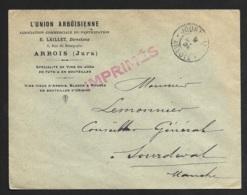 Enveloppe Avec Cachet Journaux Arbois Jura - Marcophilie (Lettres)