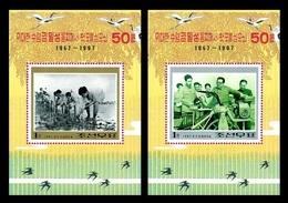 North Korea 1997 Mih. 3937/38 (Bl.371/72) Rice Seedling Transplanting By Kim Il Sung. Fauna. Birds MNH ** - Corea Del Norte