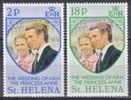 St. Helena 1973 Geschichte History Persönlichkeiten Königshäuser Royals Hochzeit Prinzessin Anne, Mi. 264-5 ** - St. Helena