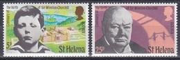 St. Helena 1974 Geschichte History Persönlichkeiten Politker Politicians Literatur Literature Churchill, Mi. 272-3 ** - St. Helena