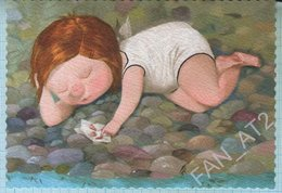 UKRAINE / Post Card / Children. A Girl With Seashells. Artist Gapchinskaya. 2016 - Children's Drawings