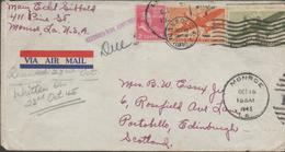 3396  Carta Aérea Monroe 1945,fechador Numeral 1 - Lettres & Documents
