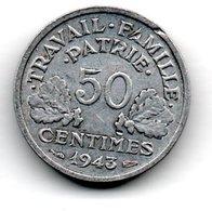 Bazor -  50 Centimes 1943 B   -  état  TB  - Pincement En Haut A 13 Heures - Frankrijk