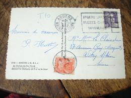 Lettre Taxee Tilbre Gerbe Gerbes 10 F Sur Lettre  Affranchie Marianne Gandon 5 F Violet - Lettres Taxées