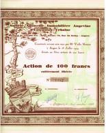 Action Ancienne - Société Anonyme Immobilière Angevine D' Extension Urbaine - Déco -Titre De 1929 - Autres