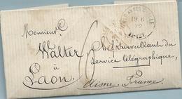 Guerre De 1870 - Vic Sur Seille (Meurthe) --> Le Chef Surveillant Du  Service Télégraphique De Laon (Aisne). VOIR ENTETE - Marcophilie (Lettres)