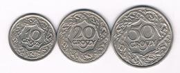 10+20+50 GROSZY 1923 POLEN /3870/ - Poland