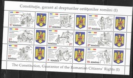 ROMANIA, 2019, MNH, CONSTITUTION, GUARANTOR OF RIGHTS, ELECTIONS, MOUNTAINS, HEALTH, EDUCATION,  SLT OF9v - Francobolli