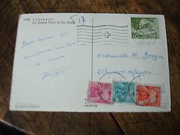 Lettre Taxee 3  Timbre Gerbe Gerbes Bande 5 , 2 Et 10 F  Lettre De Suisse - Lettres Taxées