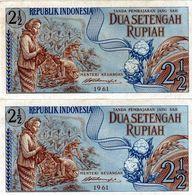 2 Billets De 2 .1/2 Dua Setengah Rupiah De La Républik Indonesia 1961 état Neuf - Indonesia