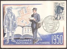C.p. Journée Nationale Du Timbre 11/03/1950,facteur Rural (bon Etat) - Cartes-Maximum