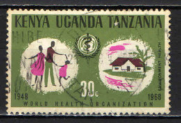 KENYA-UGANDA-TANZANIA - 1968 - 20° ANNIVERSARIO DELL'ORGANIZZAZIONE MONDIALE DI SANITA' - USATO - Tanzania (1964-...)