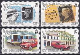 St. Helena 1990 Postgeschichte Philatelie Philately STAMP WORLD LONDON Ausstellung Exhibition Post, Mi. 526-9 ** - St. Helena
