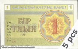 TWN - KAZAKHSTAN 1c - 1 Tyin 1993 DEALERS LOT X 5 - Series АМ UNC - Kazakistan
