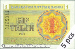 TWN - KAZAKHSTAN 1d - 1 Tyin 1993 DEALERS LOT X 5 - Series АН UNC - Kazakistan