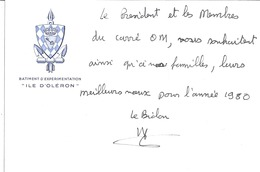 """BATIMENT D'EXPERIMENTATION """"ILE D'OLERON""""  -""""LE PRESIDENT ET LES MEMBRES DU CARRE OM VS SOUHAITENT ....VOEUX 1980.."""" - Documents"""