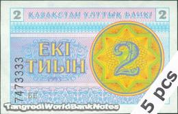 TWN - KAZAKHSTAN 2a - 2 Tyin 1993 DEALERS LOT X 5 - Series БЕ UNC - Kazakistan