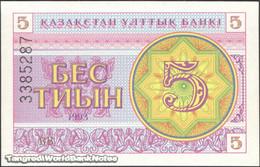 TWN - KAZAKHSTAN 3b - 5 Tyin 1993 Series ВВ UNC - Kazakistan