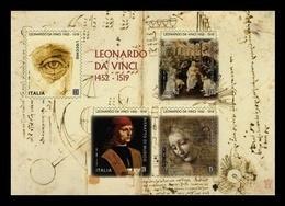 ITALIA  2019 - Leonardo Da Vinci, Nel V Centenario Della Scomparsa - Foglietto Grande Adesivo - Blokken & Velletjes