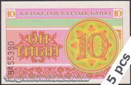 TWN - KAZAKHSTAN 4a - 10 Tyin 1993 DEALERS LOT X 5 - Series ГВ UNC - Kazakistan