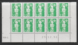 2790 2.20 F. BRIAT VERT CLAIR - DEMI BAS De FEUILLE X 10 - RGR 1 Du 29.12.92 - 1989-96 Maríanne Du Bicentenaire