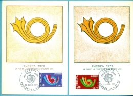 CM-Carte Maximum Card #1973-Andorre-Andorra # EUROPA-CEPT , Cor De Poste,Posthorn,post  Horn(2MC) #  Andorre - Cartes-Maximum (CM)