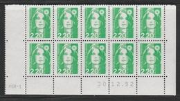 2790 2.20 F. BRIAT VERT CLAIR - DEMI BAS De FEUILLE X 10 - RGR 1 Du 30.12.92 - 1989-96 Bicentenial Marianne
