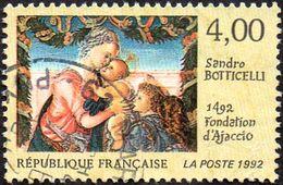 Oblitération Cachet à Date Sur Timbre De France N° 2754 - Partie D'une Oeuvre De Sandro Botticelli. Fondation D'Ajaccio - France