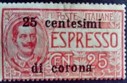 Trente Trieste Occupation Italie Italy Italia Surchargé Overprint Soprastampati 25 Cent Di Corona 1919 Yvert 13 * MH - 8. Besetzung 1. WK
