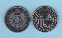 SPANJE  /  II REPUBLIEK  5 CÉNTIMOS 1.938  HIERRO/IRON  Aledón 193.PM1  Réplica SC/UNC T-DL-12.278 - [ 2] 1931-1939 : Republiek