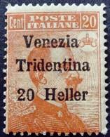 Trentin Occupation Italie Italy Italia Surchargé Overprint Soprastampati Venezia Tridentina 1918 Yvert 30 * MH - Trentino