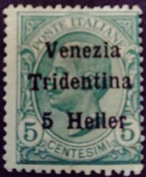 Trentin Occupation Italie Italy Italia Surchargé Overprint Soprastampati Venezia Tridentina 1918 Yvert 28 * MH - Trentino