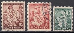 Slovacchia 1939-1944 Sc. 40-41-42 Boscaiolo Primavera Ricamatrice Used Slovensko - Slovacchia