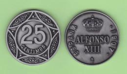 ESPAGNE  /  Le Roi ALFONSO XIII 25 CÉNTIMOS 1.907  Aledón 133.PM2  Réplica SC/UNC T-DL-12.279 - [ 1] …-1931 : Royaume