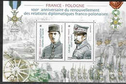 FRANCE, 2019, MNH, JOINT ISSUE WITH POLAND, DIPLOMATIC RELATIONS, WWI, DE GAULLE,  JOZEF HALLER, MILITARY, SHEETLET. - Emissioni Congiunte