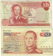 Billet. Luxembourg. 100 (Cent)Francs. 15-8-1970 Et 14-8-1980. Lot De 2 Billets. - Luxemburg