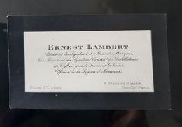 RHUM CARTE VISITE ERNEST LAMBERT PRESIDENT SYNDICAT GRANDES MARQUES CENTRAL DISTILLATEURS NEGOCIANT FRANCE COLONIES - Tarjetas De Visita