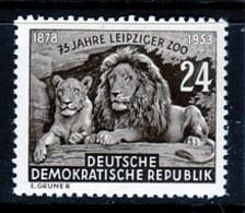TIMBRE NEUF D'ALLEMAGNE ORIENTALE - LION ET LIONNE (75E ANNIVERSAIRE DU ZOO DE LEIPZIG) N° Y&T 138 - Félins