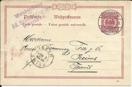 """Entier Postal , MUNSTER ( WESTF.1 ) , 1900 Et Cachets De REIMS Et De """" Weinhaudinng """" Pour Le CHAMPAGNE POMMERY - Enteros Postales"""