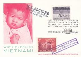 """ÖSTERREICH / VIETNAM 1968 - 1,5 S + 3 D Auf Bildpostkarte """"Wir Helfen Vietnam"""", SOS Kinderdorf - Errores & Curiosidades"""