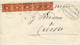 STORIA POSTALE-REGNO D'ITALIA-STRISCIAda 5 Da 2CENT-STEMMA SAVOIA-FIRMATO ANNULLO D'ARRIVO AL VERSO-1895-VAL.CAT.55 €-. - Post
