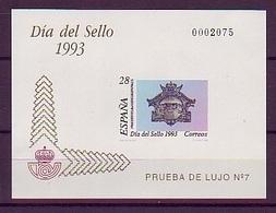 PRUEBA OFICIAL Nº 28 (EDIFIL) DIA DEL SELLO 1993- (Prueba De Lujo Nº 7) - OFERTA POR LIQUIDACION - Hojas Conmemorativas