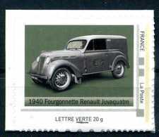"""1940 FOURGONNETTE RENAULT JUVAQUATRE Adhésif Neuf ** . Collector """" L'AUTOMOBILE DANS L'HISTOIRE DE LA POSTE """" - France"""